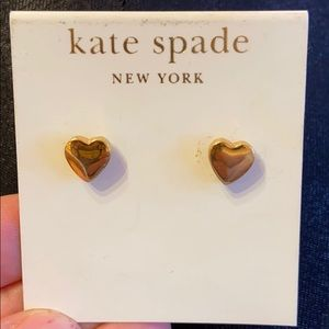 Kate space costume jewelry gold heart earrings